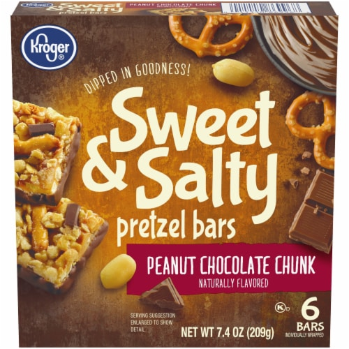 Kroger® Sweet & Salty Peanut Chocolate Chunk Pretzel Bars Perspective: front
