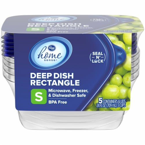 Kroger® Home Sense Small Deep Dish Storage Containers - 5 Pack - Clear/Blue Perspective: front