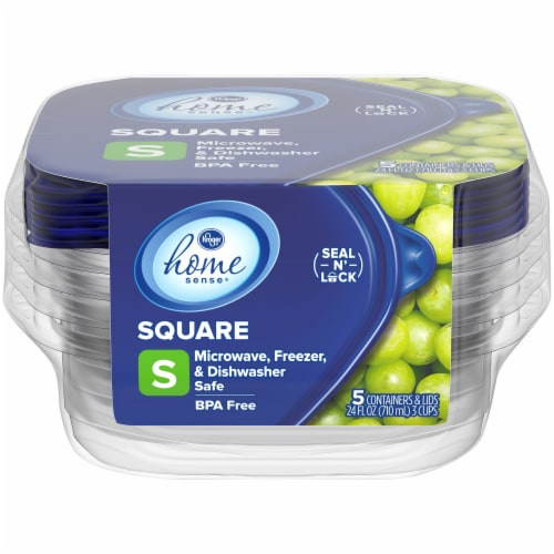 Kroger® Home Sense Small Square Storage Containers - 5 Pack - Clear/Blue Perspective: front