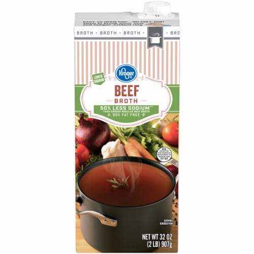 Kroger® Reduced Sodium Beef Broth Perspective: front