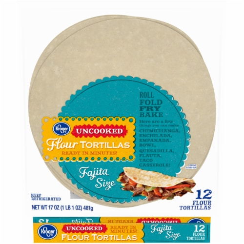 Kroger® Uncooked Fajita Size Flour Tortillas Perspective: front