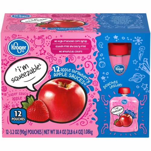Kroger® Apple Strawberry Apple Sauce Pouches Perspective: front