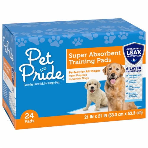 Pet Pride® Super Absorbent Training Pads 24 Count Perspective: front