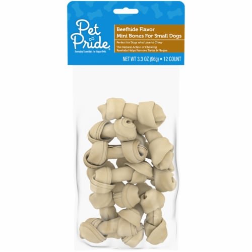 Pet Pride® Beefhide Flavor Mini Bones for Small Dogs Perspective: front