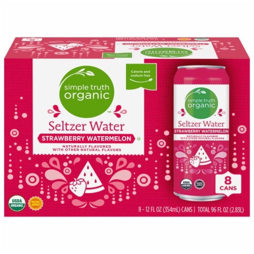 Simple Truth Organic™ Strawberry Watermelon Seltzer Water Perspective: front