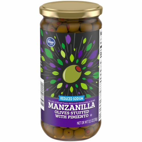 Kroger® Gluten Free Reduced Sodium Manzanilla Olives Stuffed With Pimiento Perspective: front
