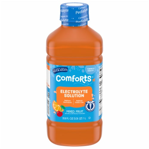 Comforts Mixed Fruit Flavored Electrolyte Solution Perspective: front