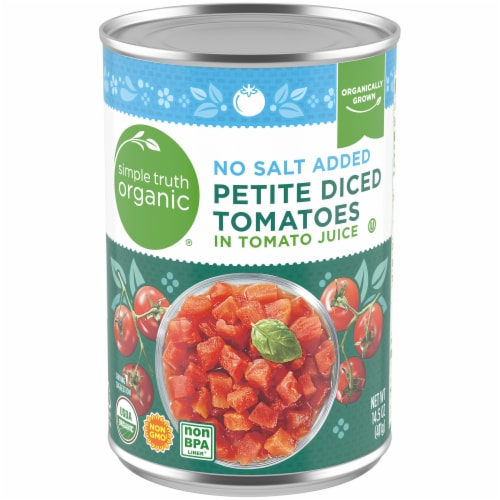 Simple Truth Organic™ No Salt Added Petite Diced Tomatoes Perspective: front