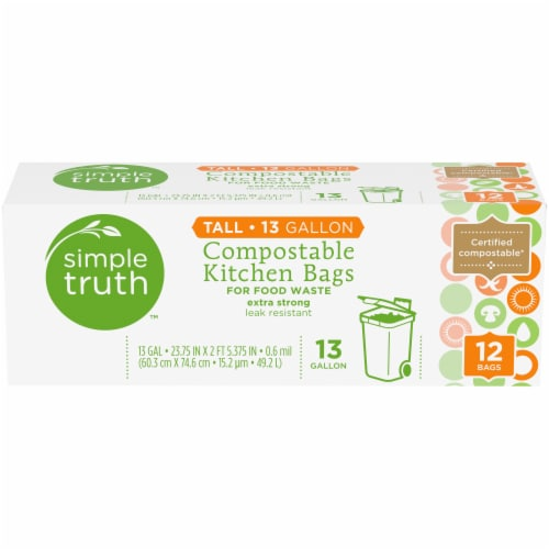 Simple Truth™ Tall Compostable Kitchen Trash Bags Perspective: front