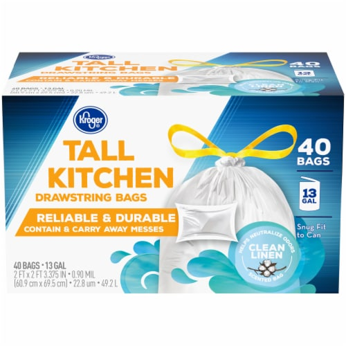 Kroger® Tall Kitchen Clean Linen Scented 13 Gallon Drawstring Bags Perspective: front