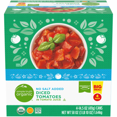 Simple Truth Organic® No Salt Added Diced Tomatoes Perspective: front
