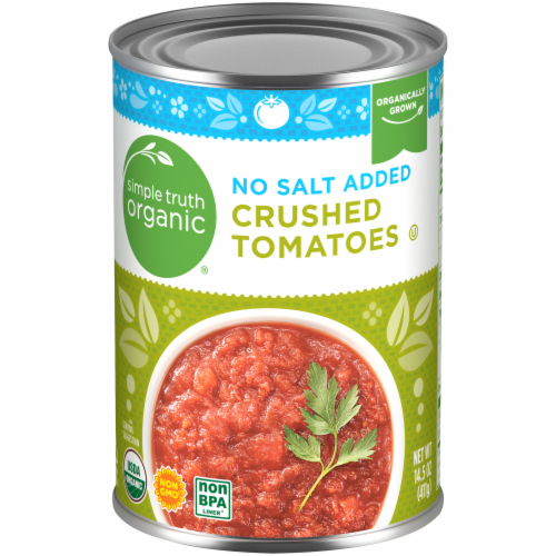 Simple Truth Organic™ No Salt Added Crushed Tomatoes Perspective: front