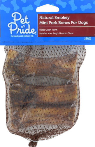 Pet Pride® Natural Smoky Mini Pork Bones for Dogs Perspective: front