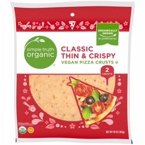 Simple Truth Organic™ Classic Thin & Crispy Vegan Pizza Crusts 2 Count Perspective: front
