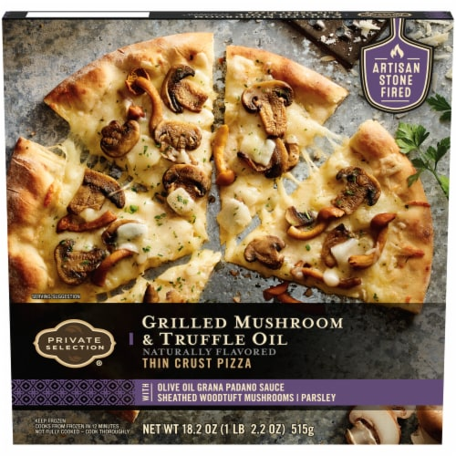 Private Selection® Grilled Mushroom & Truffle Oil Thin Crust Frozen Pizza Perspective: front