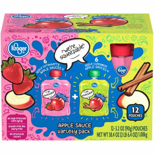 Kroger® Apple Cinnamon & Apple Strawberry Apple Sauce Variety Pack Perspective: front