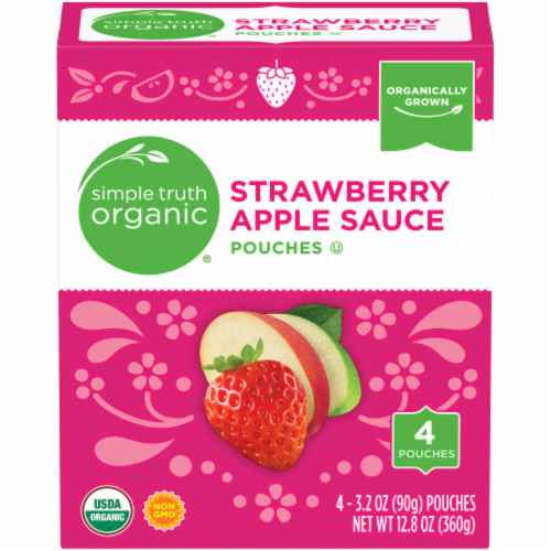 Simple Truth Organic® Strawberry Applesauce Pouches 4 Count Perspective: front