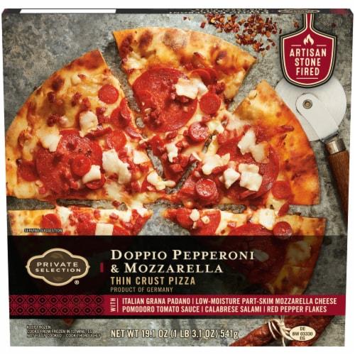 Private Selection® Doppio Pepperoni & Mozzarella Thin Crust Pizza Perspective: front