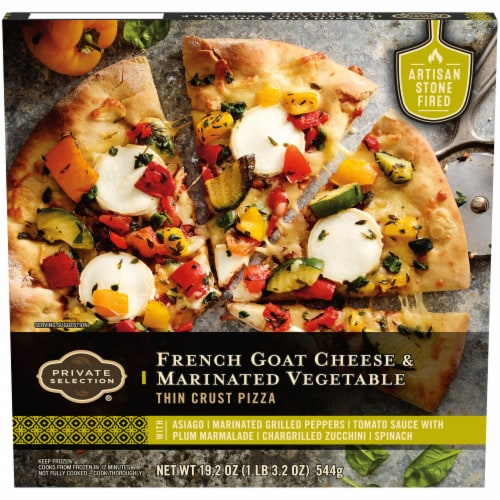 Private Selection® French Goat Cheese & Marinated Vegetables Thin Crust Pizza Perspective: front