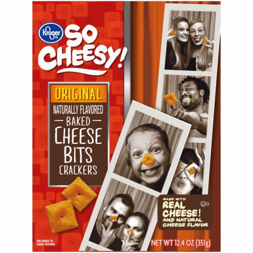 Kroger® So Cheesy! Original Baked Cheese Bits Crackers Perspective: front
