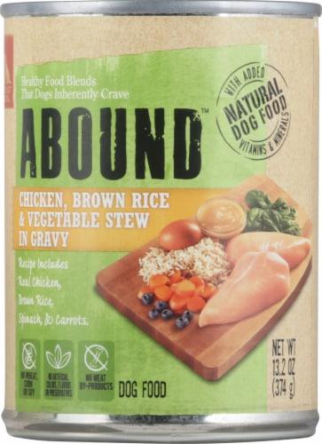 Abound™ Chicken Brown Rice & Vegetable Stew in Gravy Wet Dog Food Perspective: front