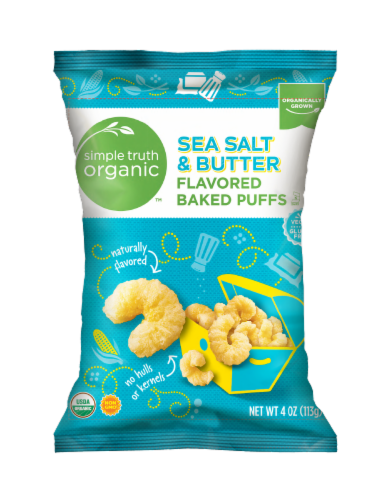 Simple Truth Organic™ Sea Salt & Butter Flavored Baked Puffs Perspective: front