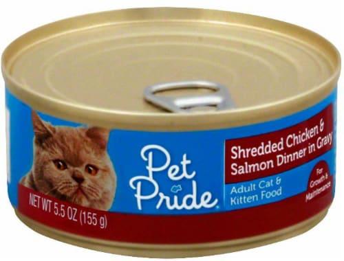 Pet Pride® Shredded Chicken & Salmon Dinner in Gravy Wet Cat Food Perspective: front