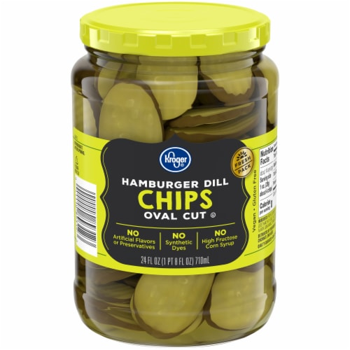 Kroger® Hamburger Dill Oval Cut Pickle Chips Perspective: front