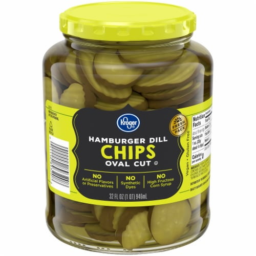 Kroger® Oval Cut Hamburger Dill Chips Perspective: front