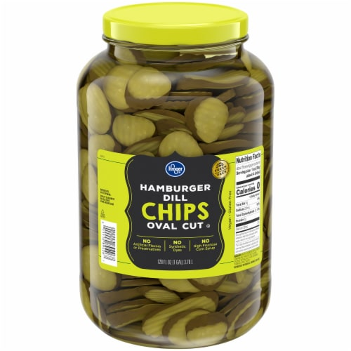 Kroger® Oval Cut Hamburger Dill Pickle Chips Perspective: front