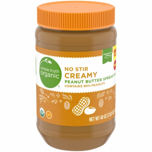 Simple Truth Organic® No Stir Creamy Peanut Butter Spread Perspective: front