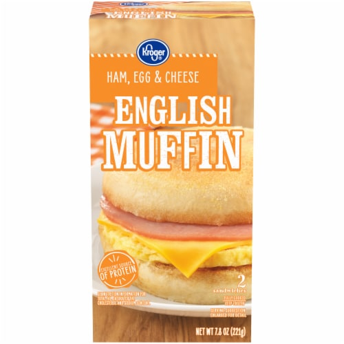Kroger® Ham Egg & Cheese English Muffin Sandwiches Perspective: front