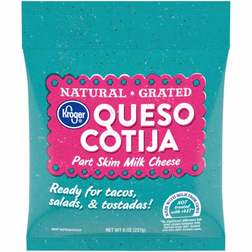 Kroger® Natural Grated Queso Cotija Part Skim Milk Cheese Perspective: front