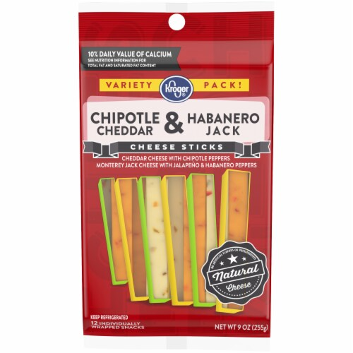 Kroger® Chipotle Cheddar & Habanero Jack Cheese Sticks Perspective: front