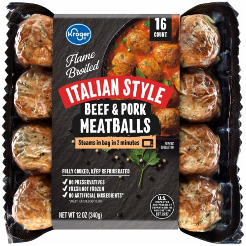 Kroger® Flame Broiled Italian Style Beef & Pork Meatballs Perspective: front