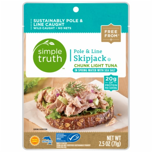 Simple Truth™ Pole & Line Skipjack Chunk Light Tuna in Spring Water with Sea Salt Pouch Perspective: front