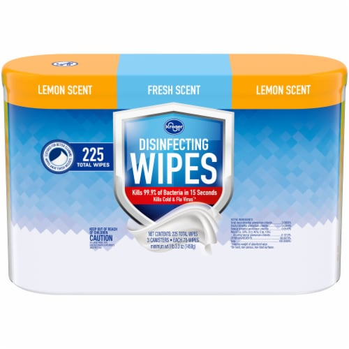 Kroger® Lemon & Fresh Scent Disinfecting Wipes Perspective: front