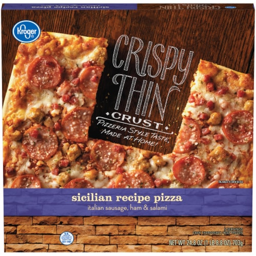 Kroger® Crispy Thin Crust Sicilian Recipe Pizza Perspective: front