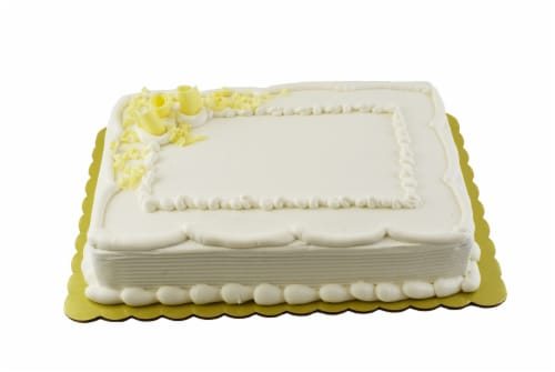 Bakery Fresh Goodness Chocolate Sheet Cake with Bavarian Creme Filling & White Icing Perspective: front
