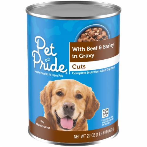 Pet Pride® Hearty Beef & Barley Cuts in Gravy Wet Dog Food Perspective: front