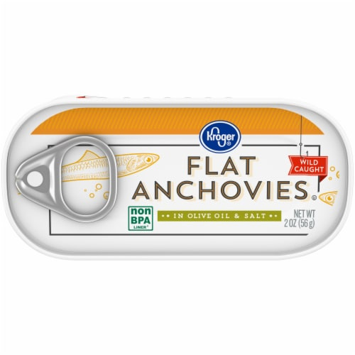 Kroger® Flat Anchovies in Olive Oil & Salt Perspective: front