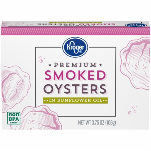 Kroger® Premium Smoked Oysters in Sunflower Oil Perspective: front