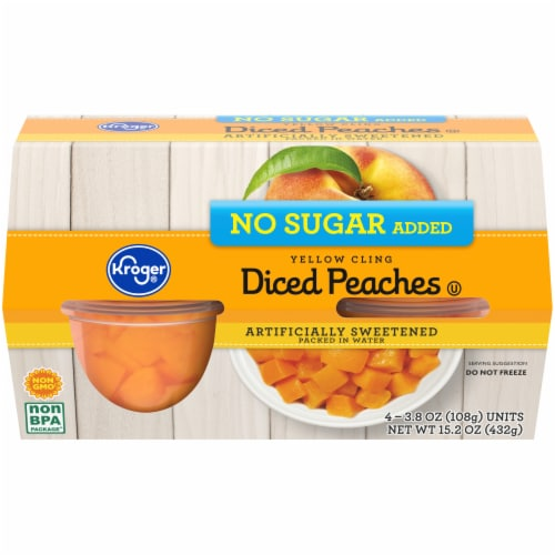 Kroger® No Sugar Added Yellow Cling Diced Peaches Fruit Snack Bowls Perspective: front