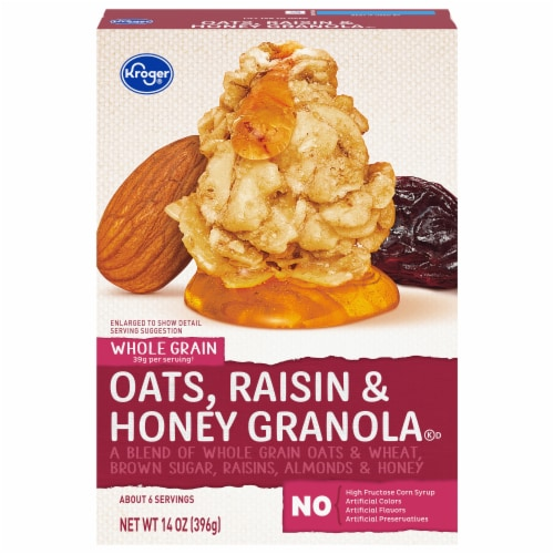 Kroger® Whole Grain Oats Raisin & Honey Granola Perspective: front