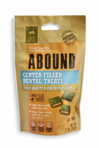 Abound® Oven Roasted Chicken Flavor Center-Filled Dental Cat Treats Perspective: front