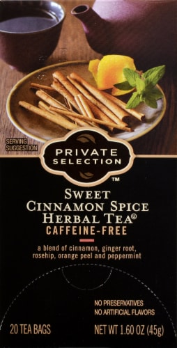 Private Selection™ Caffeine Free Sweet Cinnamon Spice Herbal Tea Bags 20 Count Perspective: front