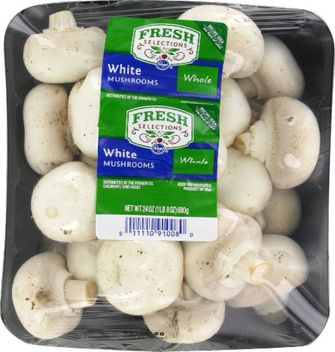 Fresh Selections Whole White Mushrooms Perspective: front