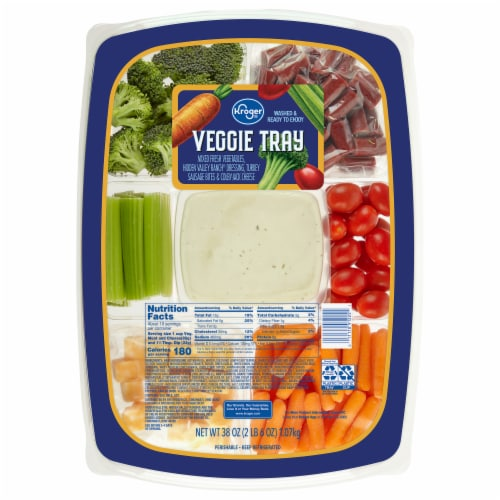 Kroger® Turkey Sausage Bites Cheese and Veggie Tray with Dip Perspective: front