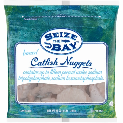 Seize the Bay Boned Frozen  Catfish Nuggets Bag Perspective: front