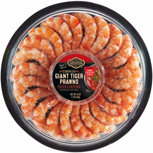 Private Selection® Peeled & Deveined Giant Tiger Prawns Perspective: front